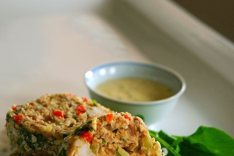 Chicken and Shrimp Meatloaf with Whole Grain Mustard Dipping Sauce