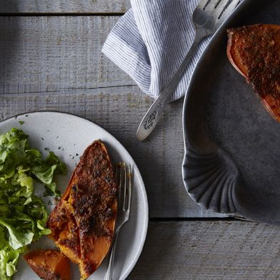 Miso, Ginger, and Scallion-Crusted Sweet Potatoes