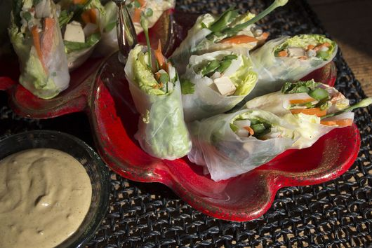 Asparagus & Five-Spice Tofu Spring Rolls with Super-Sonic Nut Sauce
