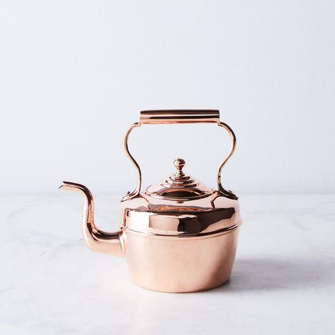 Vintage Copper EV Wilkes Tea Kettle, Late 19th Century