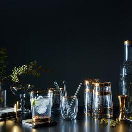 Gold-Rimmed Barrel Glasses (Set of 4)