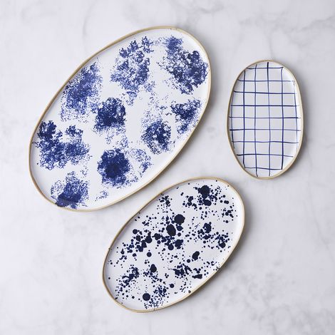 Handmade Blue & White Patterned Oval Platter