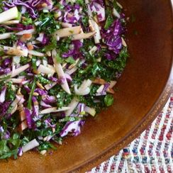 Kale and Cabbage Slaw with Apples and Ginger