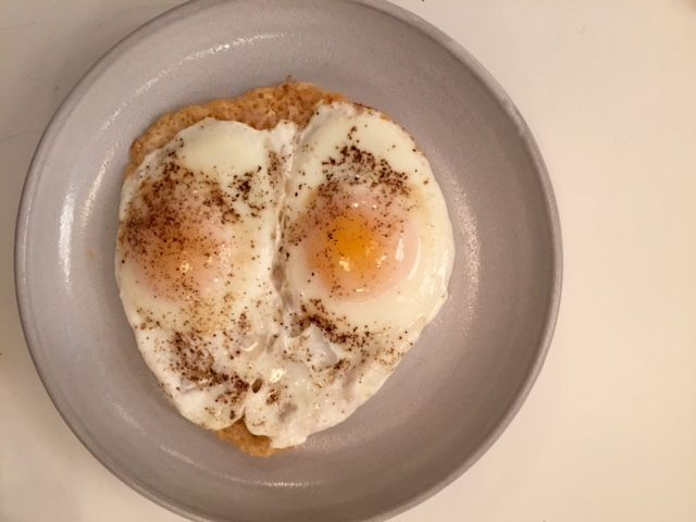 Attempt #1 of cheese-crusted eggs. Looks pretty good, huh? They're that easy.