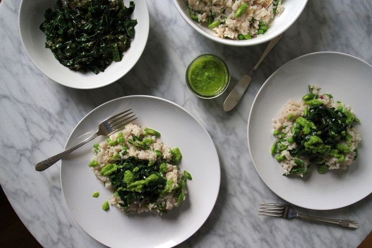 Risotto with Chard, Asparagus and Pea-Garlic Scape Pesto