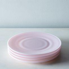 Pink Glass Dinner & Cake Plates (Set of 4)