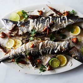Roasted Mackerel with Tahini Sauce and Pan-Roasted Carrots