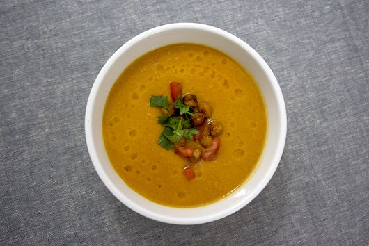 """Ethiopian Spiced Chickpea Soup with Chickpea """"Croutons"""""""