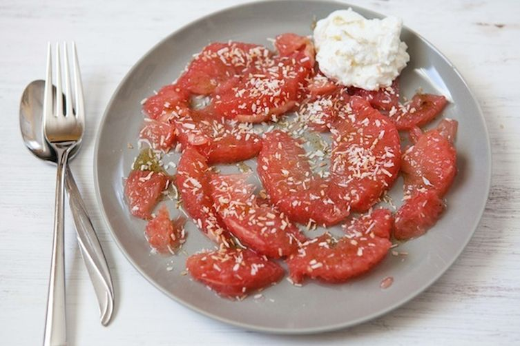 Grapefruit with Vanilla-Honey and Coconut