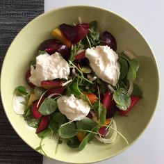 Burrata with Roast Beets, Plums, Fennel and Watercress