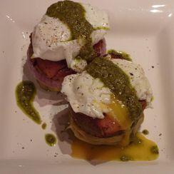 Eggs Benedict on Artichoke Bottoms with Watercress Pesto