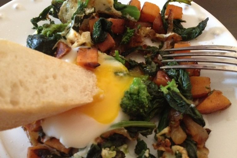 Caramelized Onion, Broccoli Rabe and Sweet Potato Hash