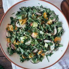 Chopped Spinach Fattoush Salad with Tahini-Sumac Sauce