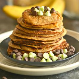 Mint Banana Chocolate Chip Pancakes