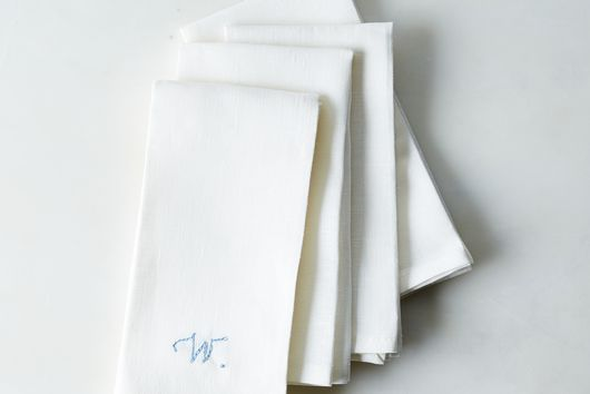 White Linen Napkins with Monogram Option (Set of 4)
