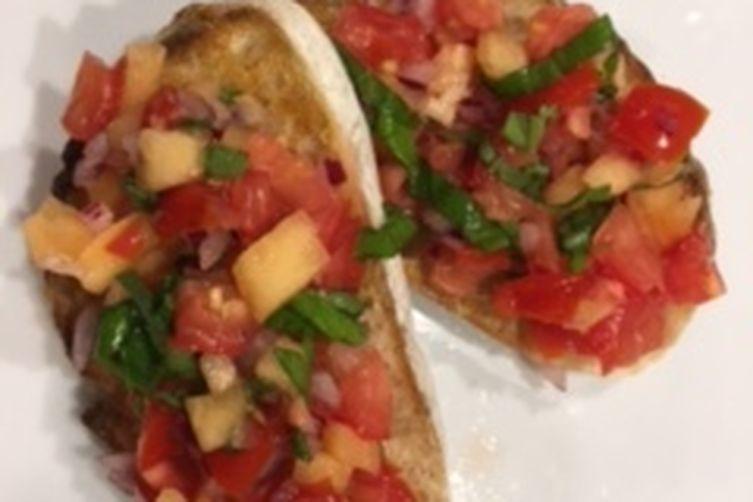 Tomato-Cantaloupe Bruschetta