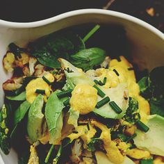 Roast Cauliflower + Avocado Salad with Spiced Yoghurt