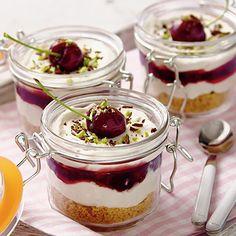 Cherry cheesecake pots recipe