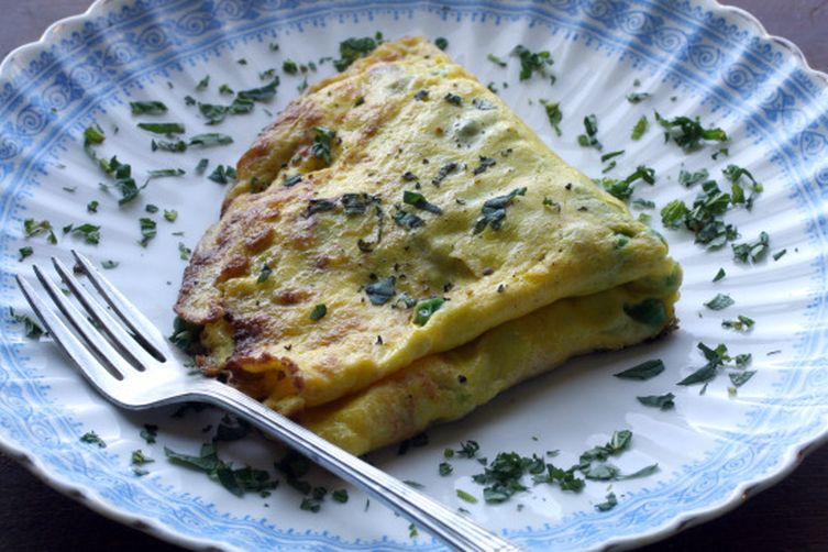 Petite Pea Omelet with Mint and Mascarpone