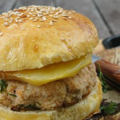 Salmon Burger with Grilled Mango & Homemade Buns