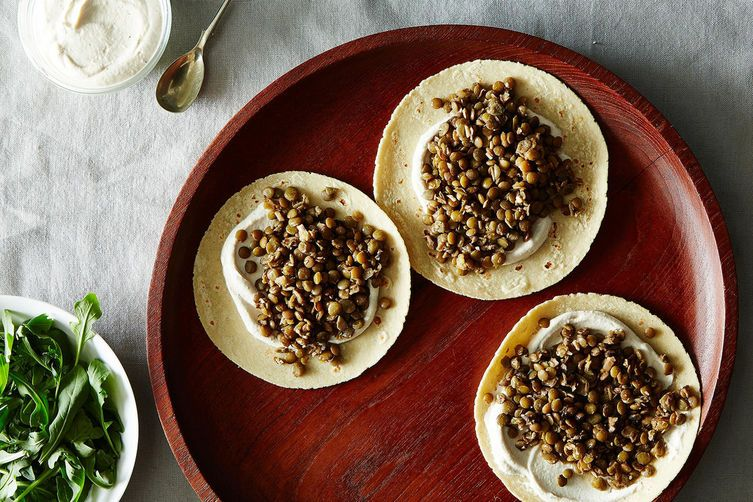 Lentil Tacos with Tahini Yogurt Sauce