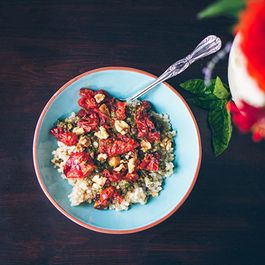 PESTO RICE WITH SLOW ROASTED TOMATOES AND WALNUTS