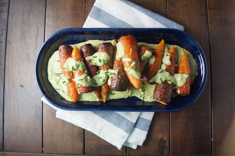 Roasted Carrots with Avocado Buttermilk Ranch