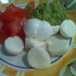 Ciliegine with tomatoes and garlic scape pesto