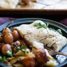 Barramundi Sheet Pan Supper with Fennel, Sausage, and Grapes