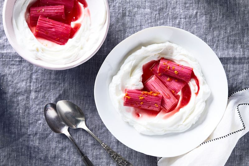 Rhubarb among the creamy, yogurt-y clouds.