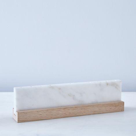 Vermont White Marble & Wood Menorah