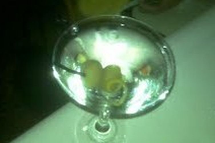 Citrus and olive martini