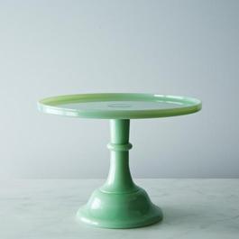 Jadeite Glass Cake Plate