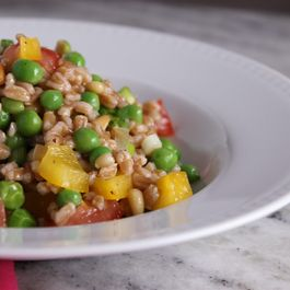 Farro w/ Yellow Peppers, Toasted Pine nuts, Peas & Lemon Vinaigrette