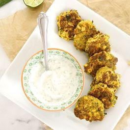 Roasted Corn and Zucchini Fritters with Cilantro Jalapeño Lime Yogurt