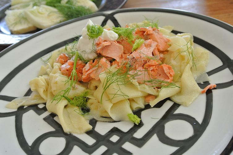 roasted salmon & fennel maltagliati pasta