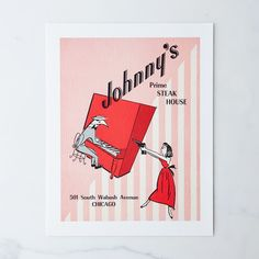Vintage Menu Print: Johnny's Steak House