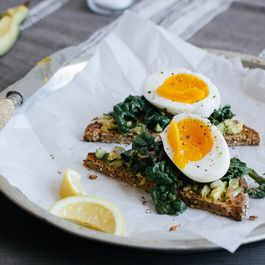 Lemon-Braised Spinach and Egg Toasts
