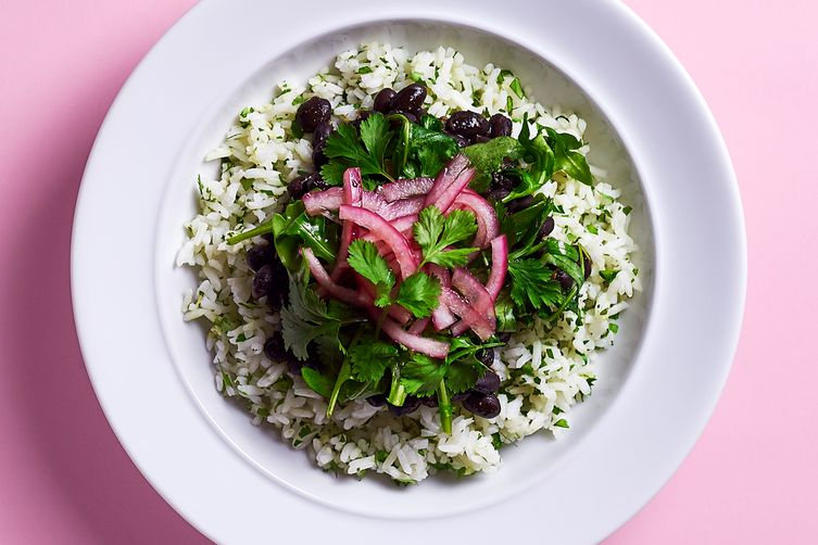 Black Bean Bowl with Cilantro Lime Rice, Arugula, and Quick Pickled Red Onions