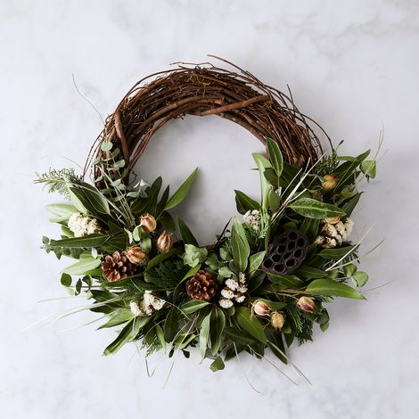Fragrant Pod Branch Half Wreath