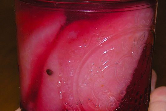 Pickled Pears with cranberry and ginger