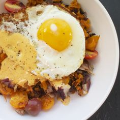 Sweet Potato, Radicchio + Tomato Hash with Harissa Hollandaise