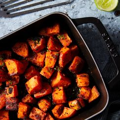 Nduja-Brown Butter Roasted Sweet Potatoes with Lime and Chives