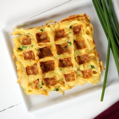 Savory Parsnip Noodle Chive Waffles