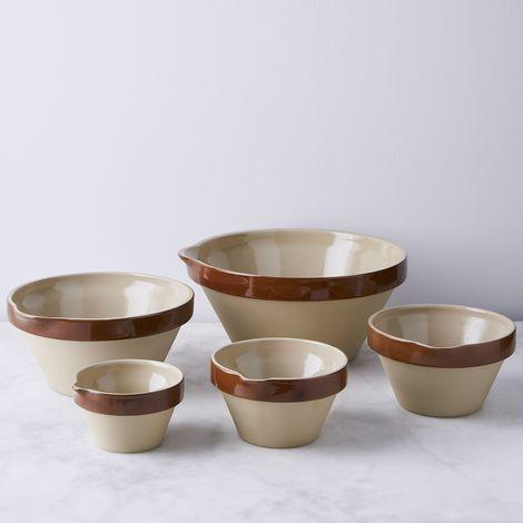 Vintage French Stoneware Mixing Bowl