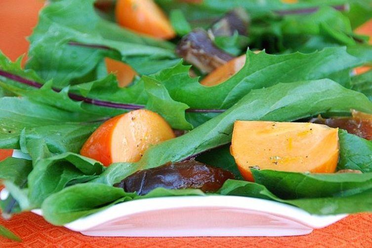 Dandelion, Persimmon, and Medjool Date Salad