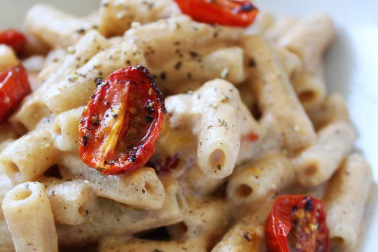 Dairy-Free & Gluten-Free Creamy Garlic Roasted Tomato Rice Pasta