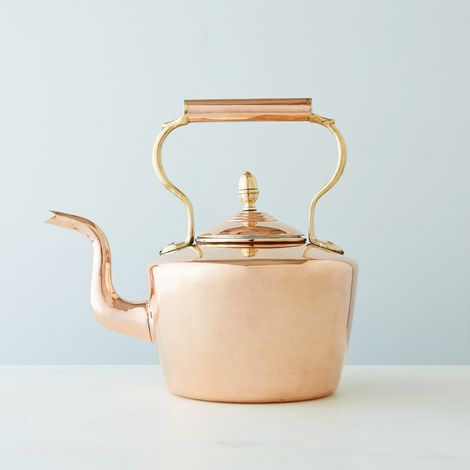 Vintage Copper Round English Tea Kettle, Mid 19th Century