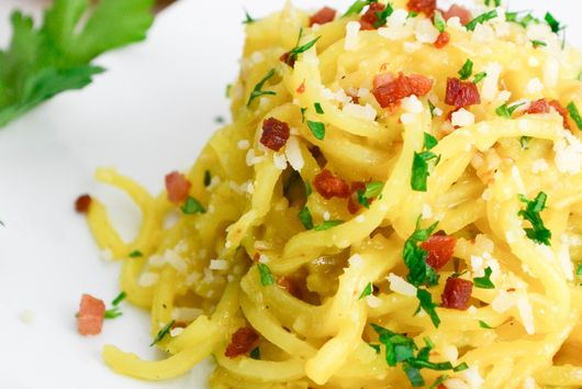 Spiralized Potato Carbonara