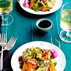 Veggie Ribbon Salad with Sesame Tangerine Vinaigrette